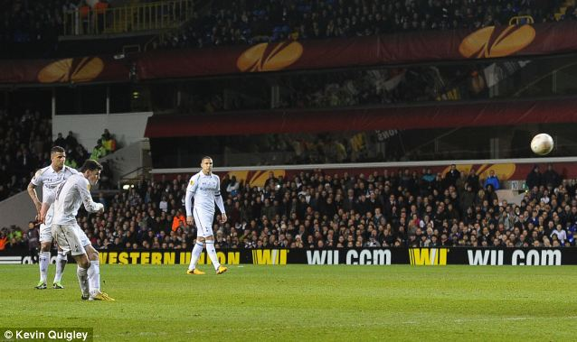 On fire: The last-minute strike was Bale's seventh in five games for club and country