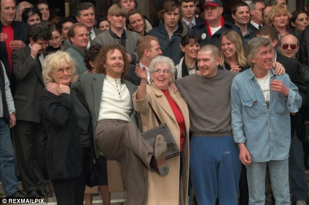 Hickey (front second from right) in 1997 when his conviction was quashed.