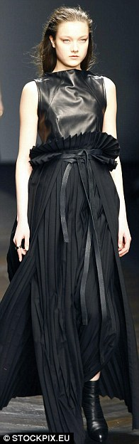 Lynn created a soft silhouette by mixing chiffon with leather