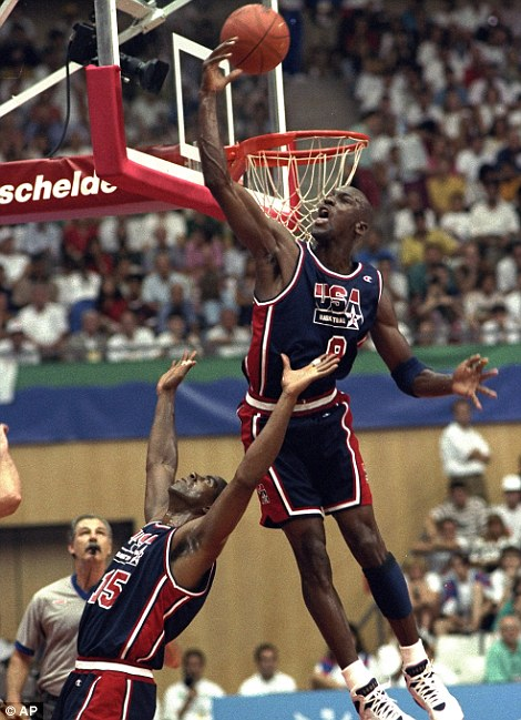 Olympian: Jordan, pictured at the 1992 Barcelona Olympics, won two gold medals with the USA