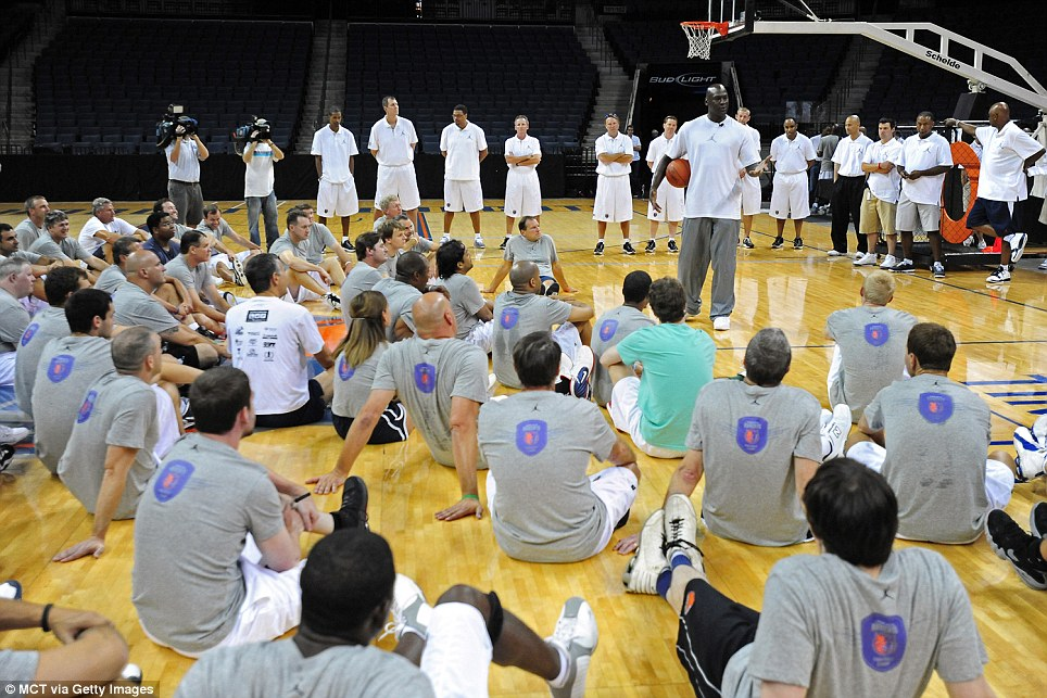 Inspiration: The Brooklyn-born basketball player talks to campers at the Bobcats Fantasy Camp in North Carolina in 2011