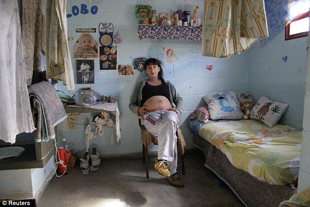 Before: Valeria Cigara, pictured when she was pregnant with her first child Milagros in 2007, gave birth to and raised her daughter in the prison until she was two