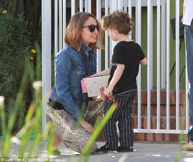 Party fun: Nicole Richie took her children Harlow and Sparrow to a birthday party in Beverly Hills, California, on Friday afternoon