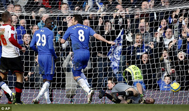 Getting closer: Frank Lampard peels away after scoring his 199th goal for Chelsea
