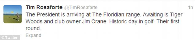 Spotted: Golf Digest reporter Tim Rosaforte reported that he saw President Obama close to 11am