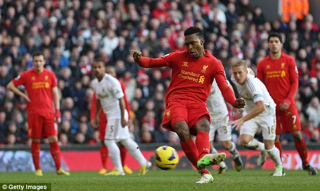 Easy: Sturridge slots home the second penalty