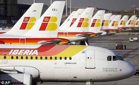 Grounded: Iberia had to cancel several of its flights after its staff began a five-day strike over jobs cuts