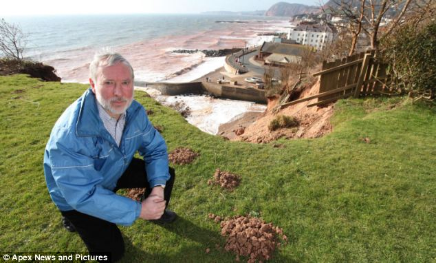 John Radford has lived on Cliff Road for 45 years and lost 15m of his garden in the space of a few weeks
