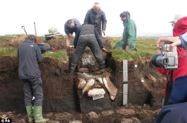 An early Bronze Age burial chest full of cremated bones and jewellery dating back 4,000 years is excavated on Dartmoor
