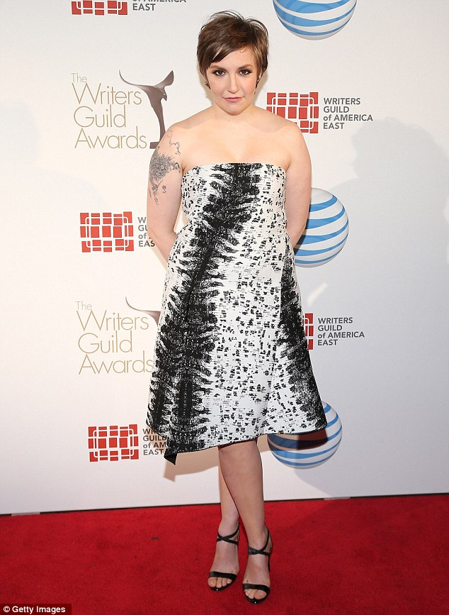Showing her wild side: Lena Dunham dressed in an animal-inspired gown at the WGA Awards in New York City on Sunday