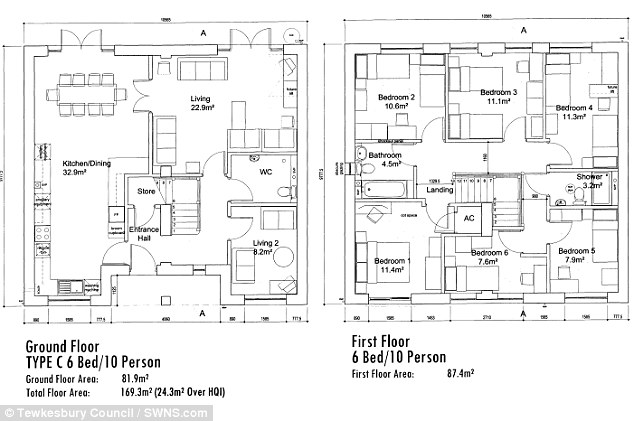 Spacious: The house comes with six bedrooms, two living rooms, a kitchen/ diner and two bathrooms