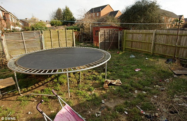 Trashy: The back of their current home in Churchdown, Gloucester