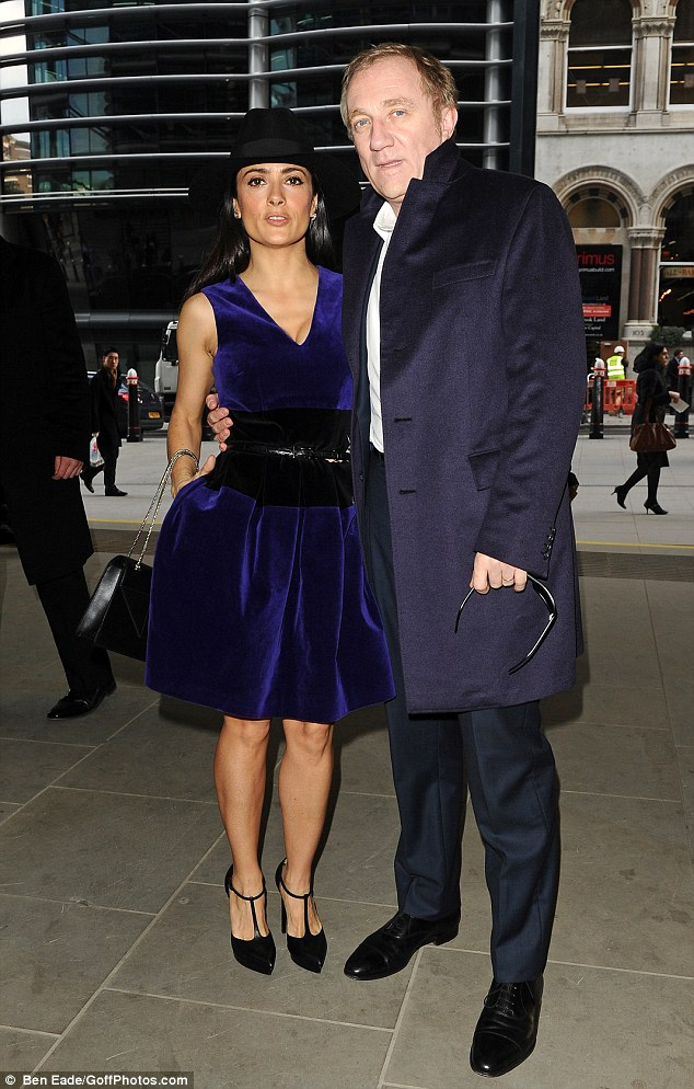 In good company: Salma was joined by her husband, French billionaire Francois-Henri Pinault for the event at Cannon Place