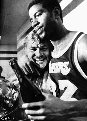 Magic: Buss hugs Magic Johnson in the locker room after they won the 1980 NBA championship against the Philadelphia 76ers