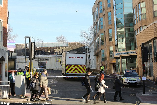 Scene: Mrs Medland was stabbed at 8.45pm on Sunday in Queen Square, Brighton, close to where she worked