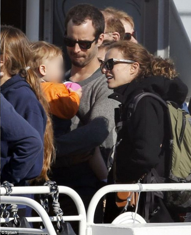 The gang's all here: Natalie Portman, husband Benjamin Millepied and their son spent their Sunday aboard a whale watching ship off the coast of Santa Barbara, California