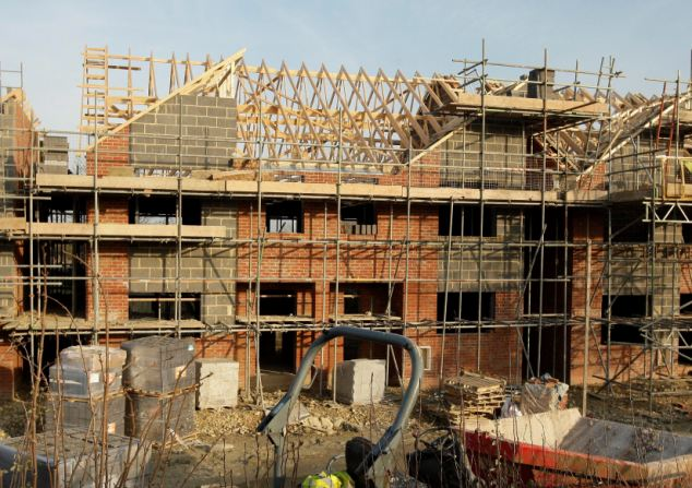 The six-bedroom house in Tewkesbury half way through construction for the large family