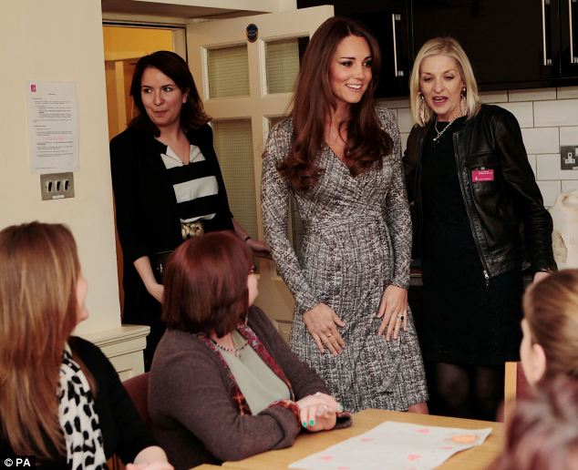 The Duchess of Cambridge visits the art therapy group as she visits the kitchens at Hope House
