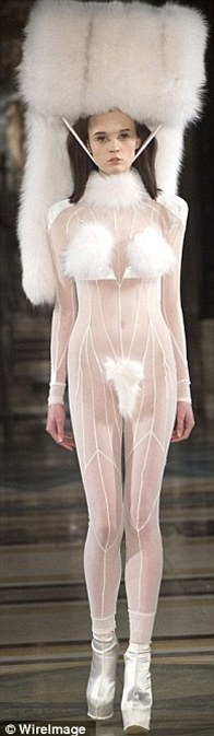 Hidden modesty: Luckily for a few models, their modesty was hidden by fur and belts