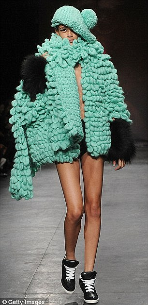 Oddball: Other wacky looks included this Shawn the Sheep inspired piece (left) and this green wool cape (right)