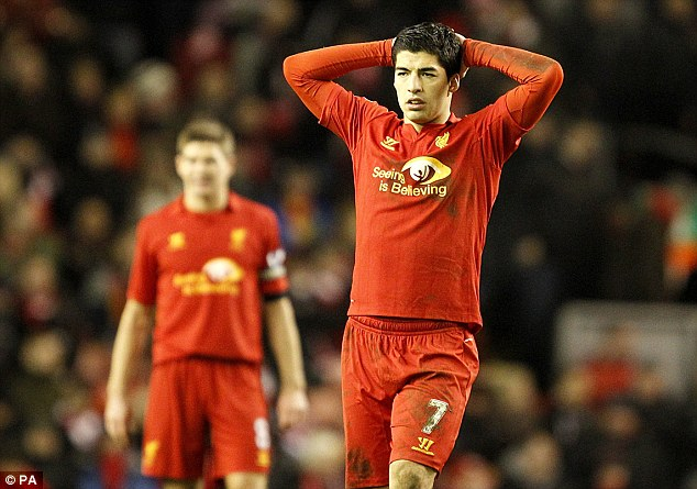 Off day: Luis Suarez endured a rare dip in form in Russia as his side failed to score a crucial away goal