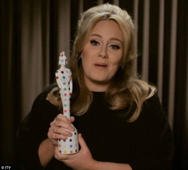 Still on top: Adele, who has won many awards in the past, looked pleased to win the award for Best British Single this year but was unable to make the Brit Awards as she is in America ahead of the Oscars