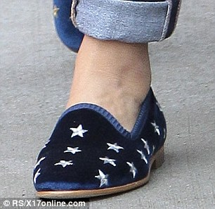 Star-spangled: She wore footwear reminiscent of the American flag