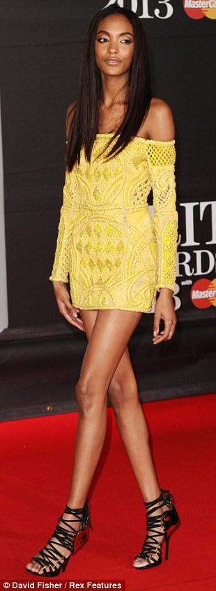 Adding some more glamour: Jourdann Dunn showed up in a minuscule yellow frock, while Lisa Snowdon showed off a dark purple gown and Paloma Faith kept with her quirky taste in a bejewelled gown