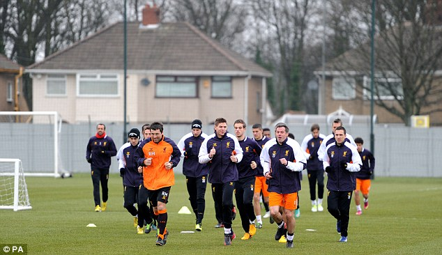 All to do: Gerrard leads the players in training ahead of their second leg