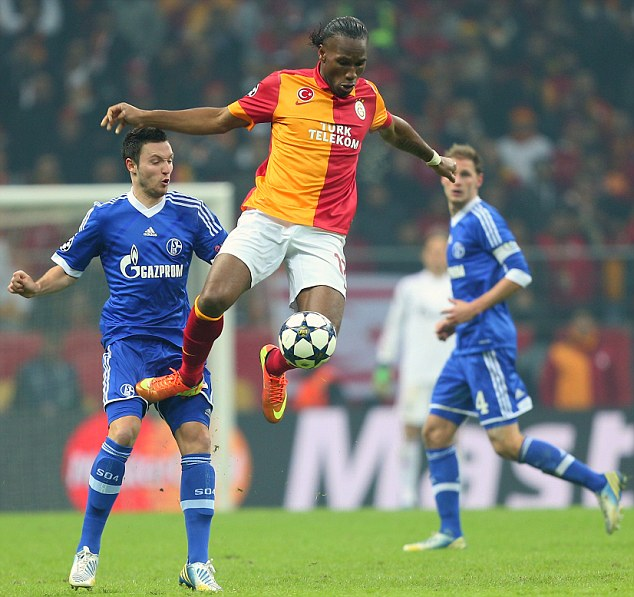 Controversial appearance: Didier Drogba controls the ball during the 1-1 draw between Galatasaray and Schalke in Istanbul last night