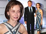 Pretty as a seashell! Bare-faced Calista Flockhart wears unusual marine-inspired dress at a conference hosted by her husband Harrison Ford's conservation NGO