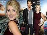 Classy coquette! Julianne Hough steals the show in candy apple red gown to promote Safe Haven in London with Josh Duhamel