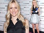 Try this on for size! Kristin Cavallari slips into silver mini skirt and silk blouse to launch new shoe collection in Las Vegas