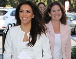 Campaigning: Eva Longoria stops by the office of Kate Anderson who is running for local office in Los Angeles on Wednesday