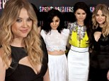 The Skin Breakers! Ashley Benson sets the tone in cleavage baring dress as Vanessa Hudgens flashes midriff at Madrid premiere