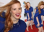Jessica Chastain takes a risk in blue caped dress as she gets in the party mood ahead of the Oscars