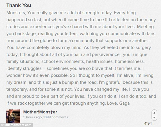 Giving something back: Lady Gaga sent this letter to her fans via her website