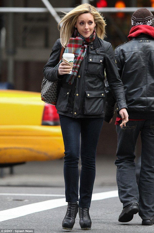 Off-duty beauty: The 30 Rock star dressed casually in a pair of simple skinny jeans and a wax jacket, while accessorising with a stylish checked scarf