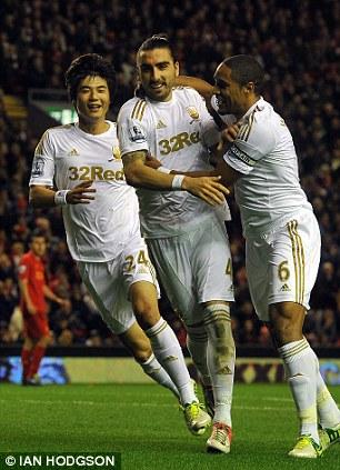 Upset: Chico (centre) celebrates his Anfield strike