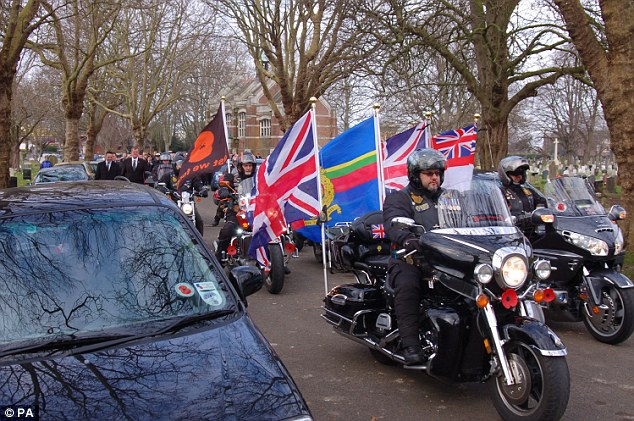 In remembrance: A motorcycle procession took place at the funeral of former Royal Marine James McConnell