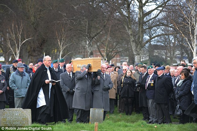 Huge crowd: Staff at the ex-Marine's care home had feared they would be the only people at his funeral