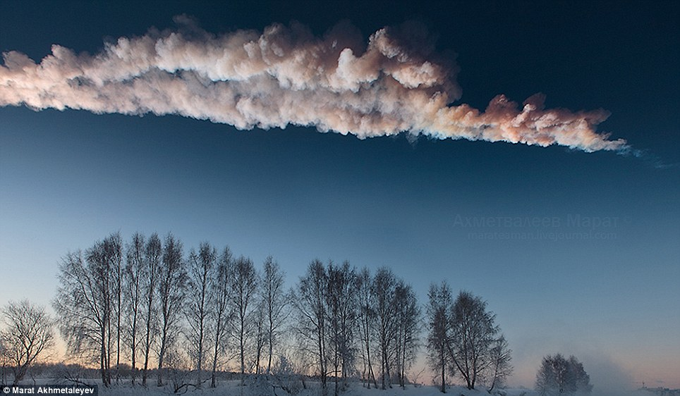 Devastation: The meteorite exploded over Russia's Ural Mountains on Friday, injuring nearly 1,500 people and causing widespread property damage in city of Chelyabinsk