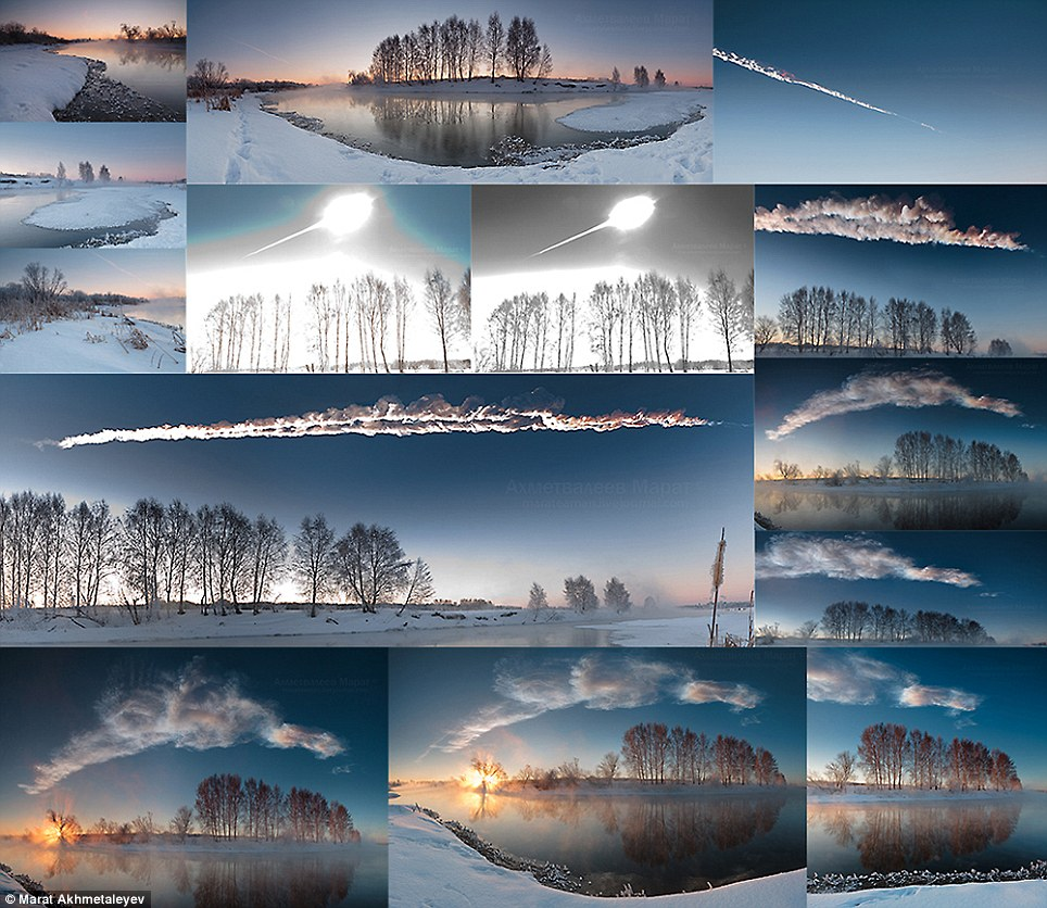 Stunning: A montage of all the images taken by Marat Akhmetaleyev of the meteorite as it hurtled over the Russian sky