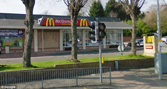 Crime scene: The McDonald's in Ipswich, Suffolk, where a G4S security guard was pushed to the ground and £17,000 was stolen in November 2011