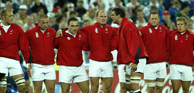 Composure: Martin Johnson talks to Sir Clive's players in the 2003 World Cup semi-final against France