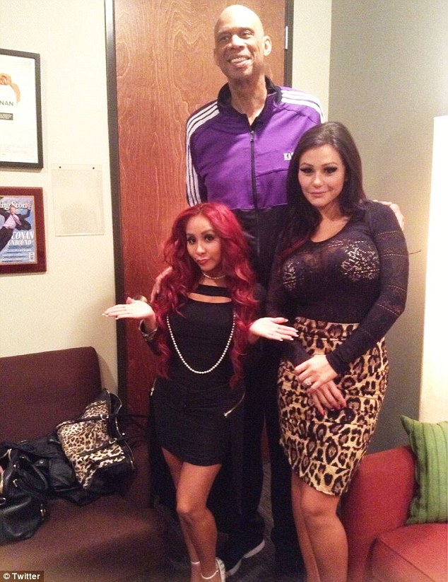 What a height difference: Kareem Abdul-Jabbar tweets a photo of himself, Snooki and JWoww from behind-the-scenes of Conan on Wednesday