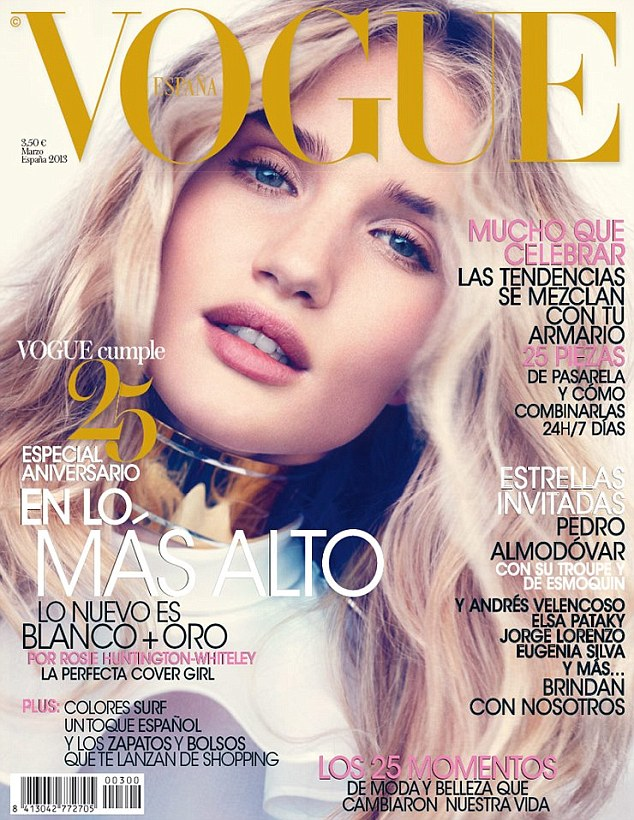 The perfect cover girl: Rosie Huntington-Whiteley showcases her newly blonde locks on the front of Spanish Vogue's March issue