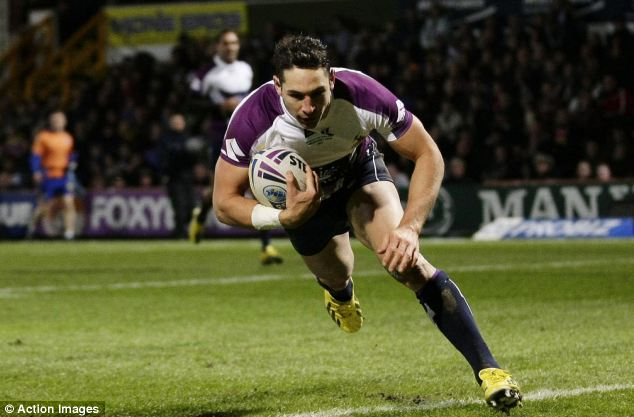 Try-time: Full-back Billy Slater opened the scoring for the visitors