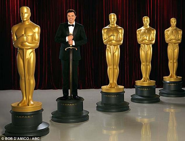 Let the laughs begin: On Thursday promotional images of Academy Awards host Seth MacFarlane were released with the host pretending to be an Oscar statue