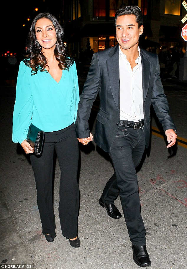 Baby's first date: Mario and Courtney Lopez stepped out at The Grove in Los Angles, California, on Thursday for the first time since announcing they were having a second baby
